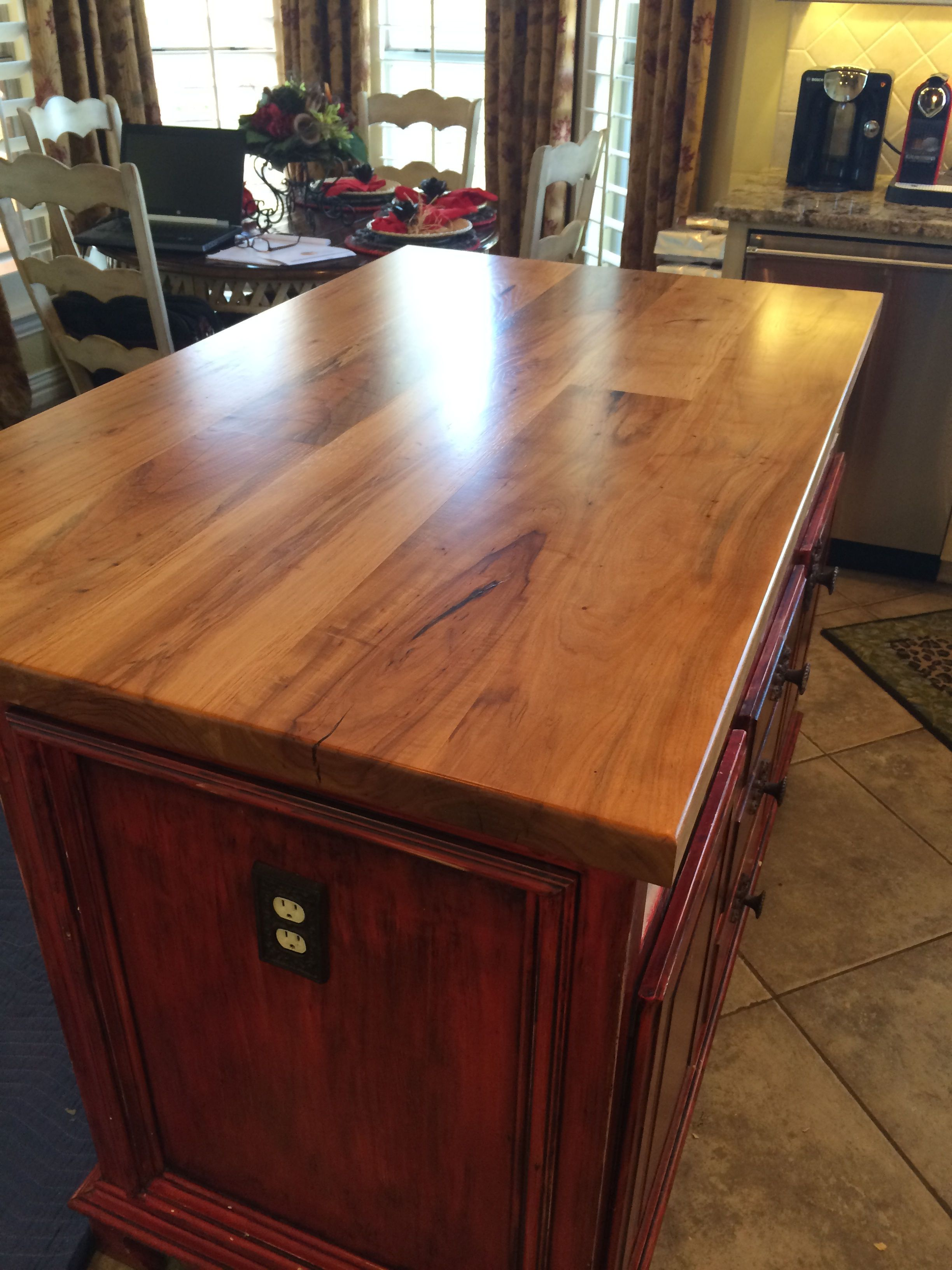 Tx Pecan Face Grain Custom Wood Island Countertop With Waterlox