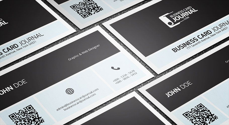 Free Simplistic Metro Business Card Template With Qr Code  More