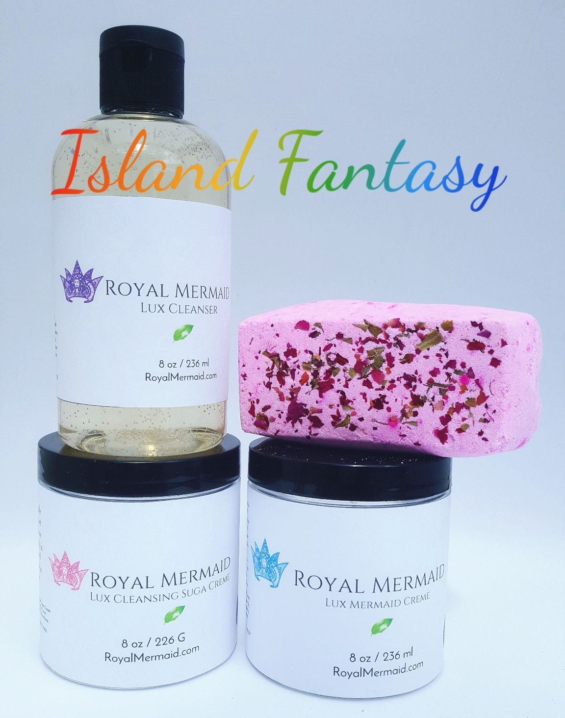 Island Fantasy Skincare Collection  Create a life that you don't need a vacation from with Royal Mermaid & The Captain! We specialize in personalized products and incredible customer service. RoyalMermaid.com #royalmermaid #thecaptain #nomoredryskin #soothing #eczema #hormonesafe #pcossafe #pcos #psoriasis #shopsmall #gifts #birthday #bathfizzies #cleanser #skinpolish #mermaid #mermaidcreme #seasoak