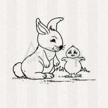Motivstempel - Hase mit Küken (gr)