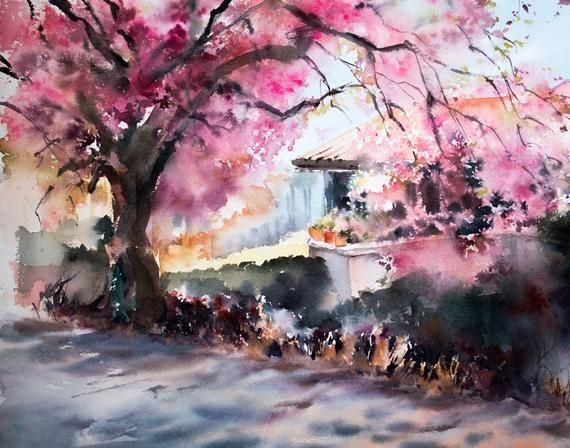 Landscape Fine Art Print Abstract Realism Watercolor Print