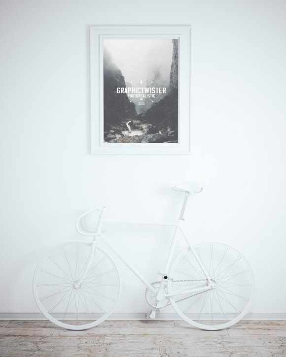 Download Wall Frame Mockup With Bicycle Frames On Wall Free Photo Frames Frame Mockups