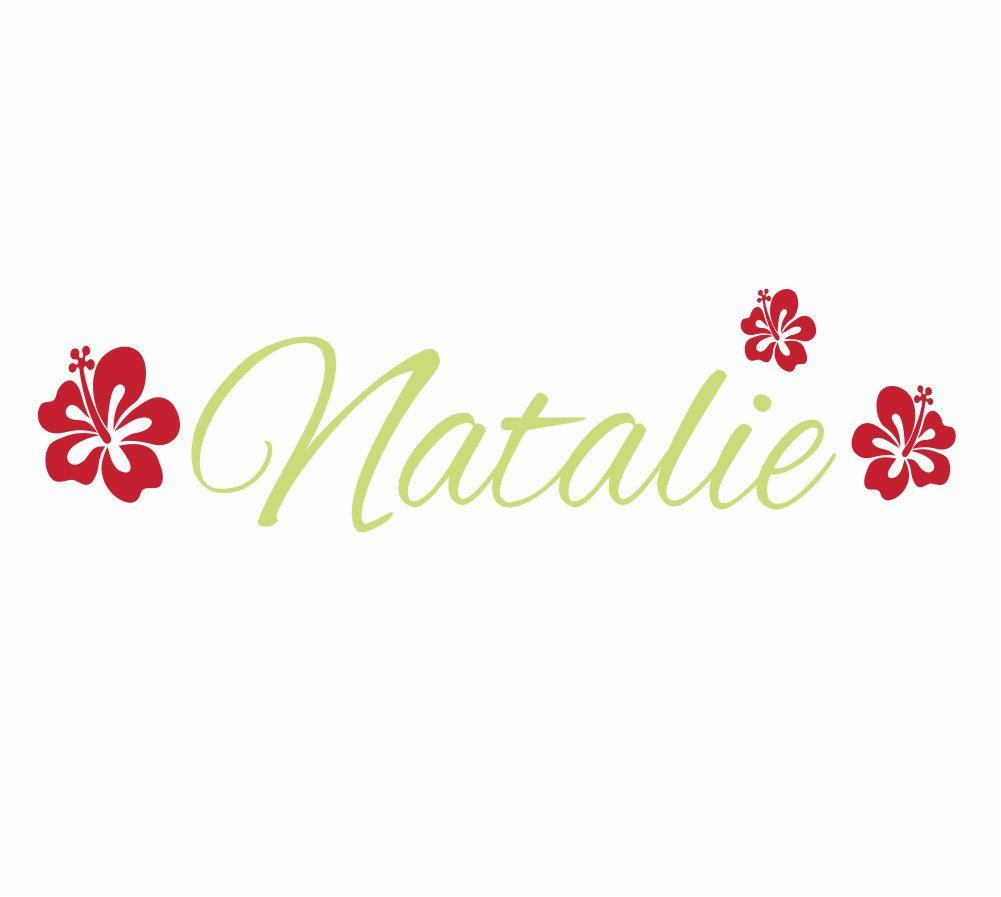Flower wall decals personalized name and initial wall decal for girl flower wall decals personalized name and initial wall decal for girl baby nursery girls room teen decor hibiscus hawaiian 10hx36w fs218 izmirmasajfo