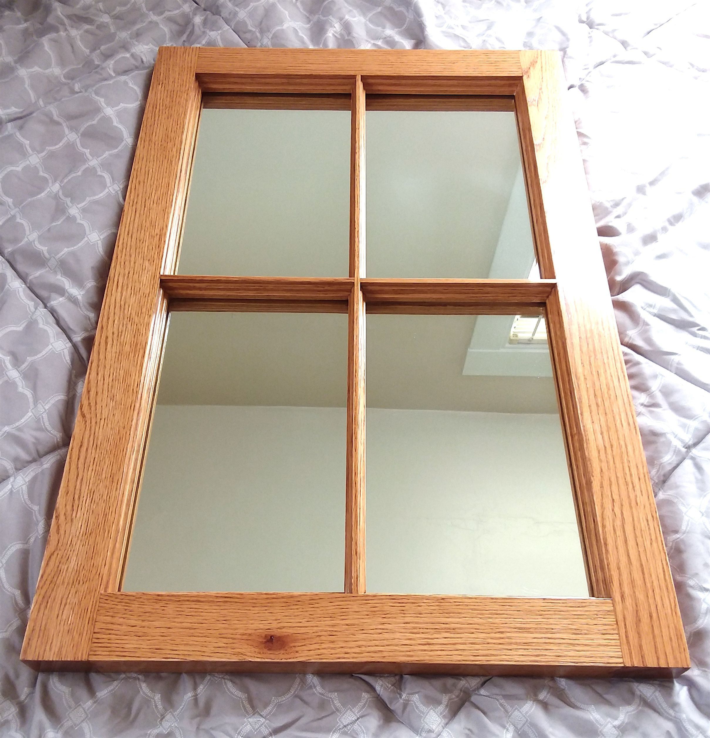 Decorative Solid Oak 4 Pane Window Frame Mirror For Entryway Living Room Hallway Kitchen Bedroom And Off Wood Window Frame Window Frame Mirror Window Frame
