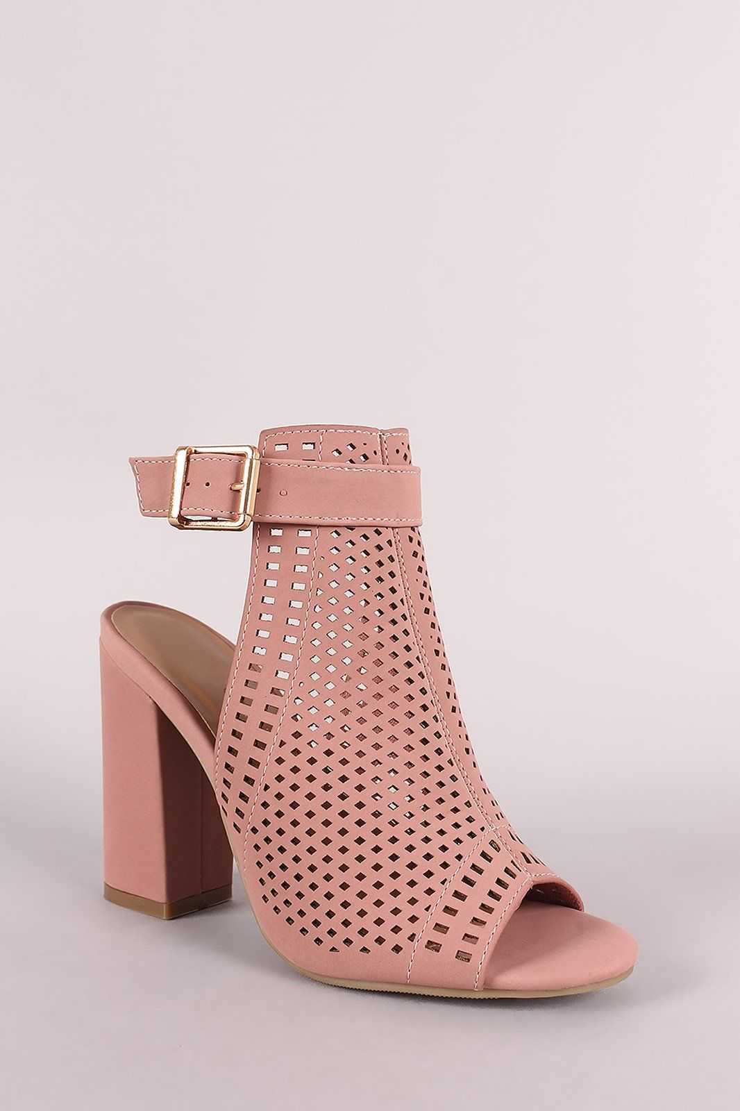Bamboo Perforated Nubuck Chunky Mule Heel Heeled mules