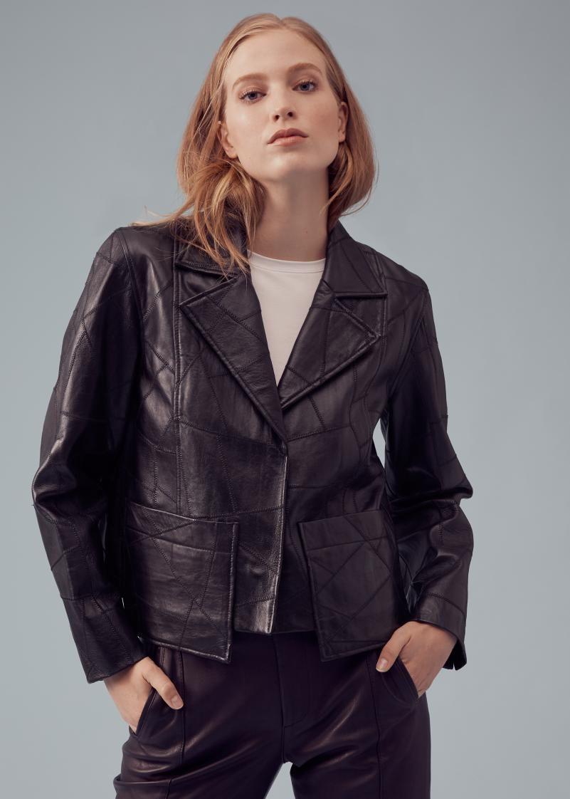 Ganni Patch Leather Jacket Lamb Leather Jacket Leather Jacket Jackets [ 1122 x 801 Pixel ]