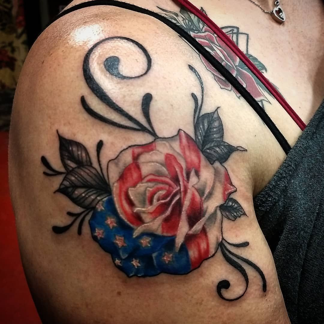 5b4018ef4 Beautiful #patriotic #rosetattoo Tattoo Idea #americanflagtattoo  #flagtattoo #tattoos #patriots #