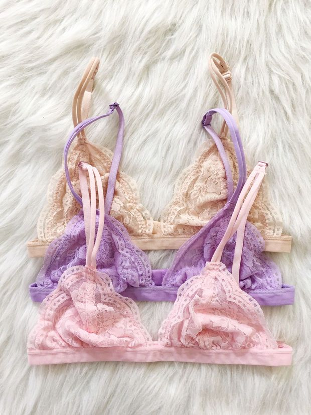d3add452a2 Triangle Lace Bralette (Baby Pink