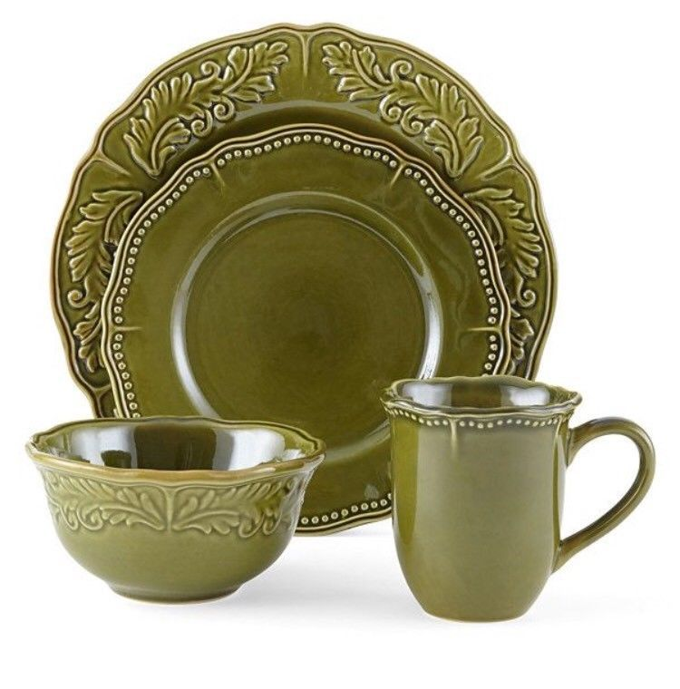 Jcpenney Home Brand Stoneware 16 Piece Amberly Olive Green Dish Set Plates Bowls Dinnerware Set Dinnerware Green Dinnerware