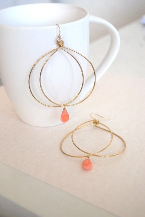 Chic and Unique Hoops with Salmon Coral by mayaruhi on Etsy, $26.00
