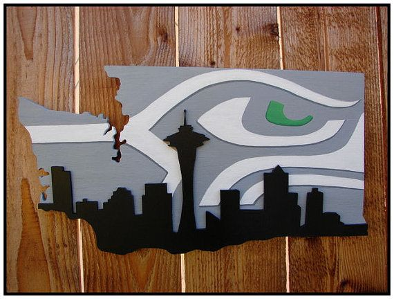 Seattle Wall Art seattle seahawks space needle skyline wood wall art | seahawks