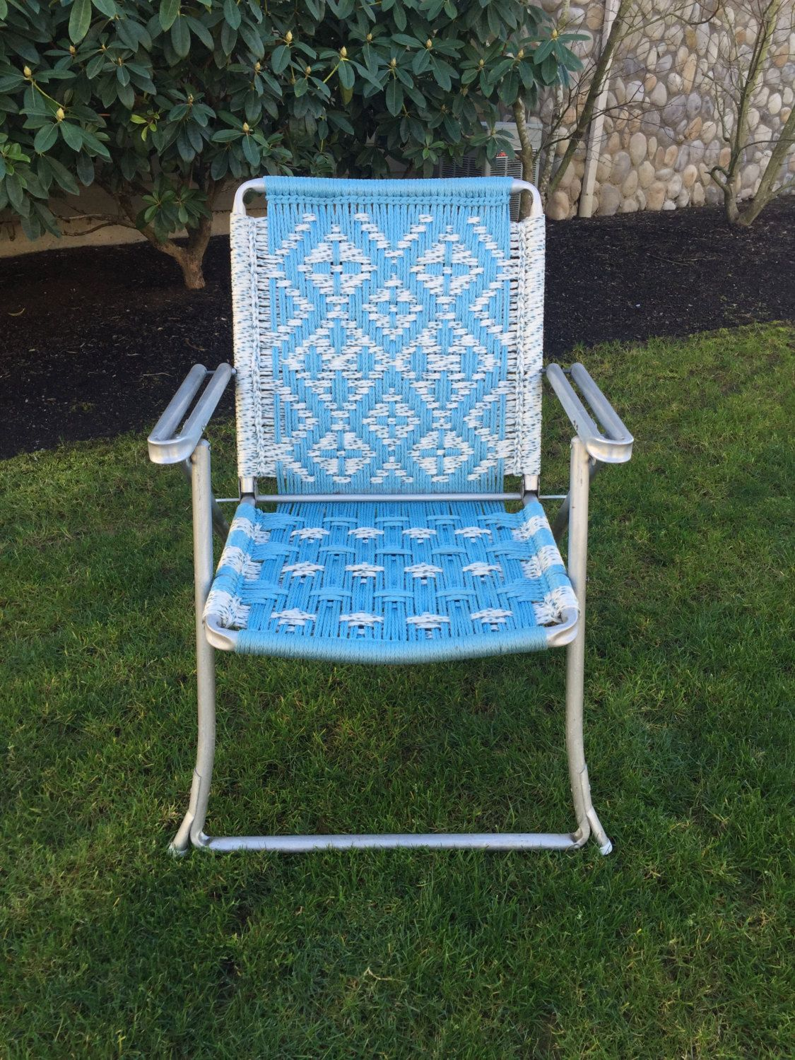 Great Reserved John   Vintage Macrame Lawn Chair, Aluminum Macrame Chair, Blue  Lawn Chair, Folding Lawn Chair, Garden Chair, Camping Chair