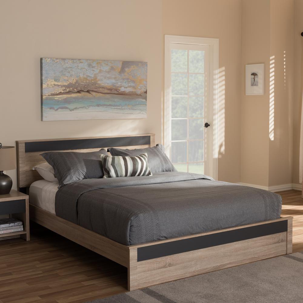 Jamie Light Brown Wood Queen Platform Bed Wood Platform Bed