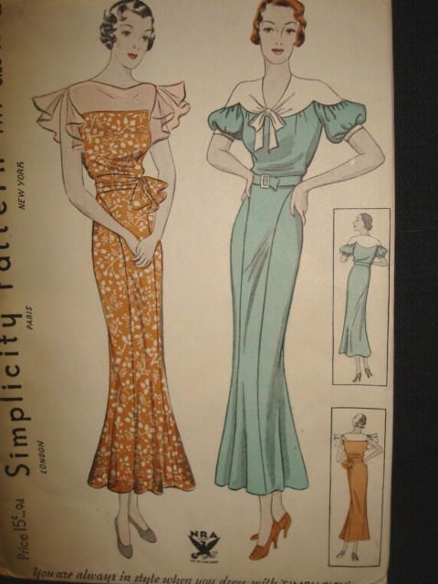1930s Afternoon Or Dinner Dress Simplicity 1479 Nra Seal Ca 1933