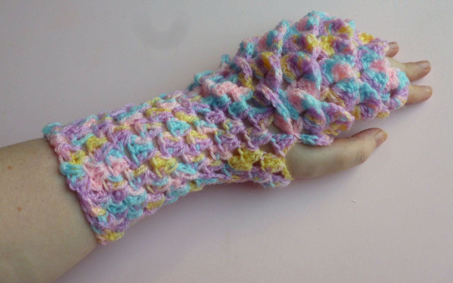 dragon scale gloves, mermaid scale gloves, fantasy gloves, fingerless gloves, scale gloves, crochet gloves, mermaid gloves, pastel gloves by UniquelySam on Etsy