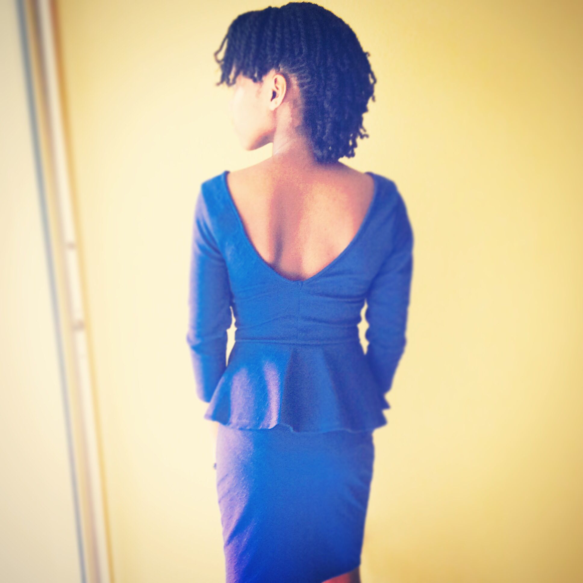 Blue open back dress and braided mohawk natural beauty pinterest