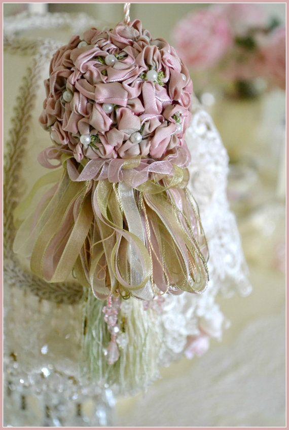 Gorgeous Vintage Ribbon Flower Tassel