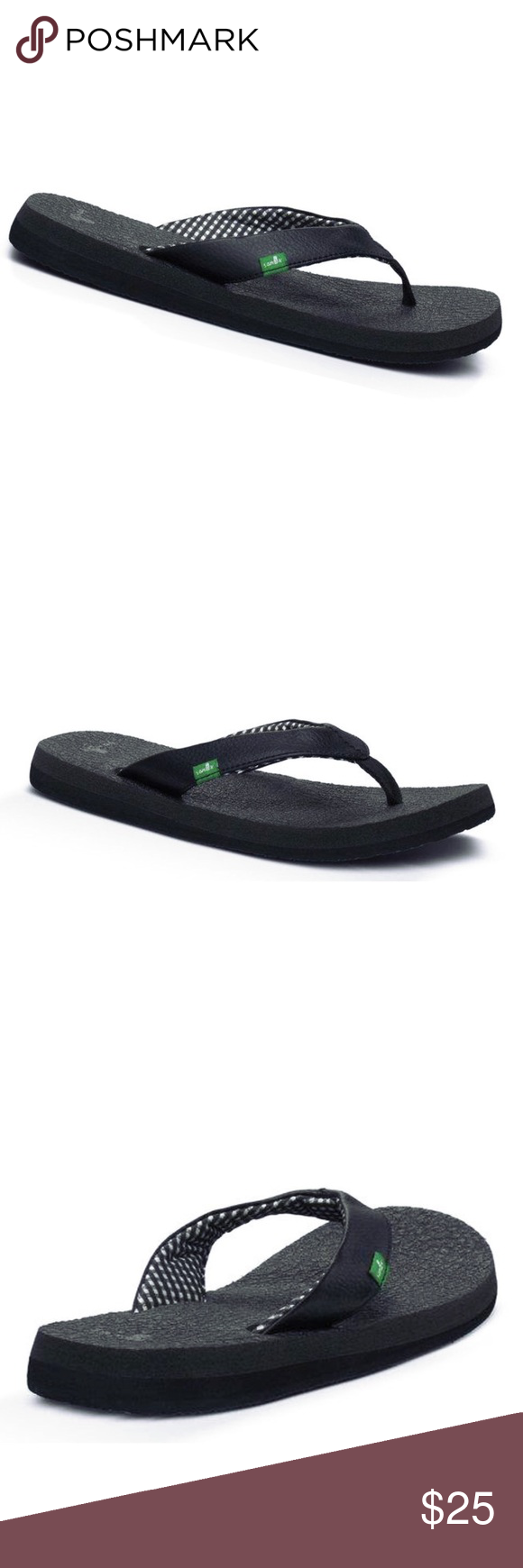 315648969 NWT Sanuk Black Yoga Mat Flip Flop Thong Sandals Brand new with tags Sanuk  women s yoga