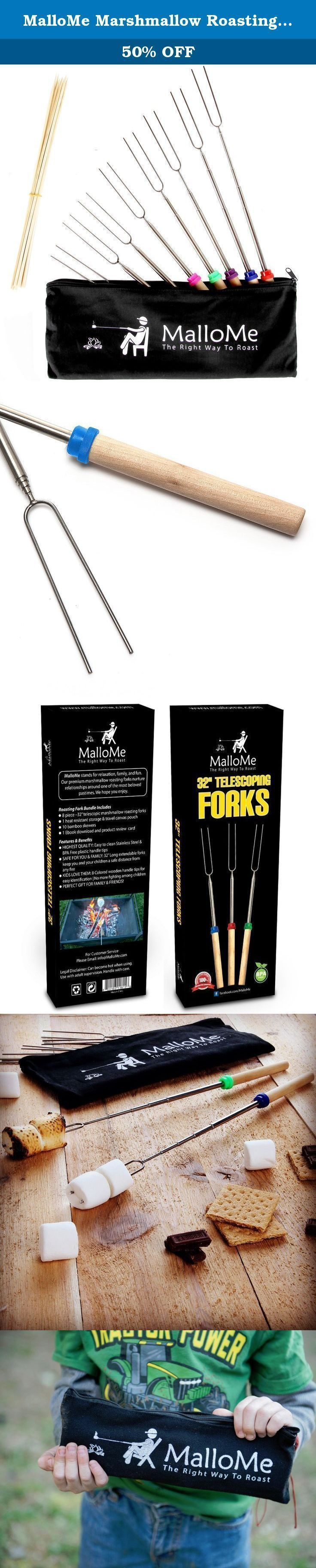 MalloMe Marshmallow Roasting Sticks Set of 8 Telescoping Smores Skewers & Hot Dog Forks 32 Inch Patio Fire Pit Accessories Camping Cookware Campfire Cooking Kids Fireplace Accesories - FREE Canvas Pouch, 10 Bamboo Sticks & Marshmallow Sticks Ebook. THROW AWAY THOSE SHORT & CLUNKY 22 INCH ROASTING STICKS & GET YOUR FIRE PIT READY! THE BEST MARSHMALLOW ROASTING FORKS ARE FINALLY HERE MalloMe Marshmallow Roasting Sticks | 32