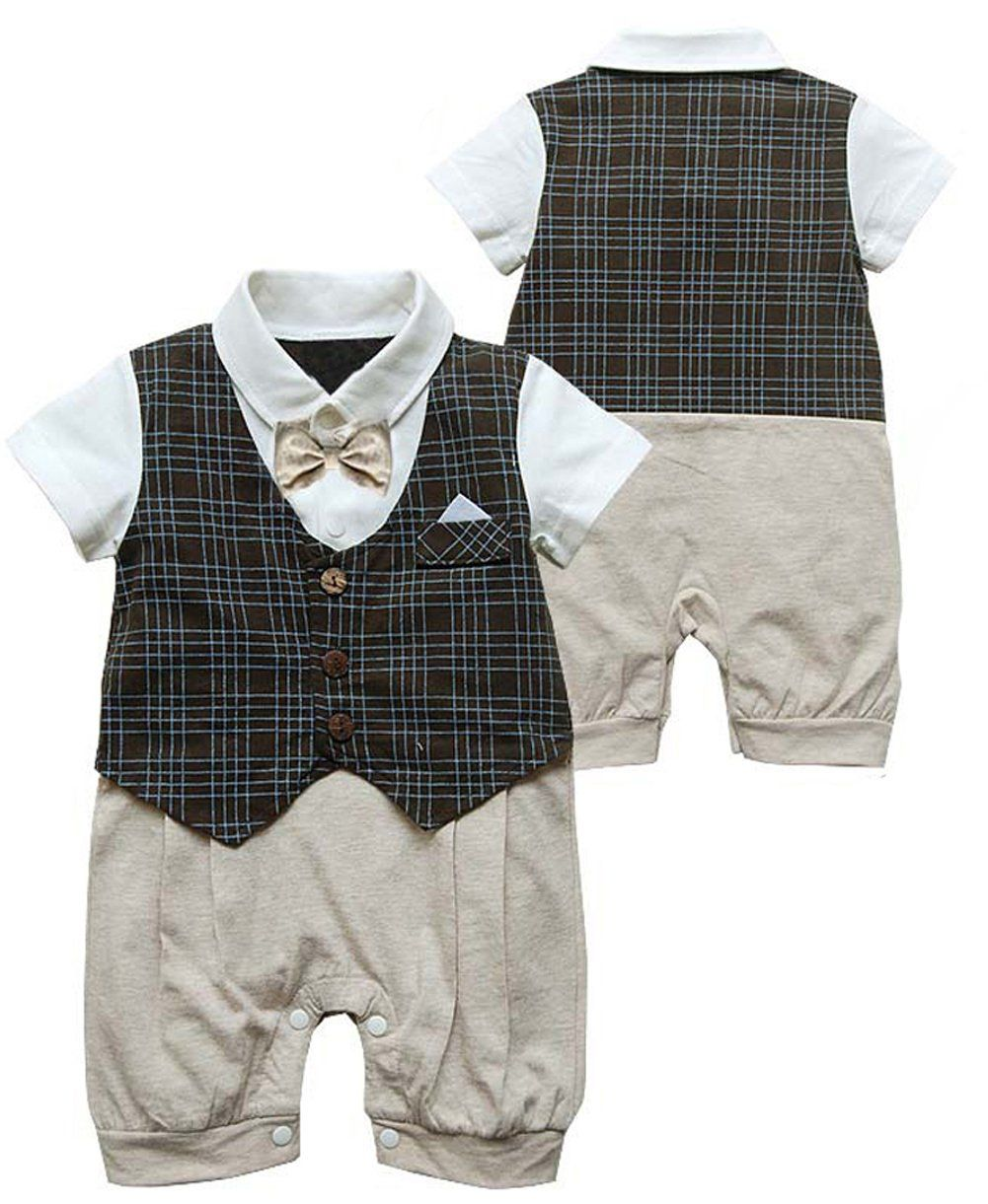 1ff629726 Infant Toddler Boy Baby Bowknot Gentleman Romper Jumpsuit Outfit Plaid  Clothes  Amazon.co.uk  Clothing