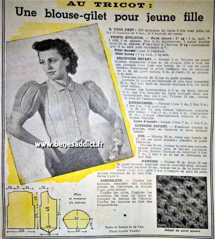Gratuit 43 Patrons Tricot Vintage 19391941 Free 40 Knitting