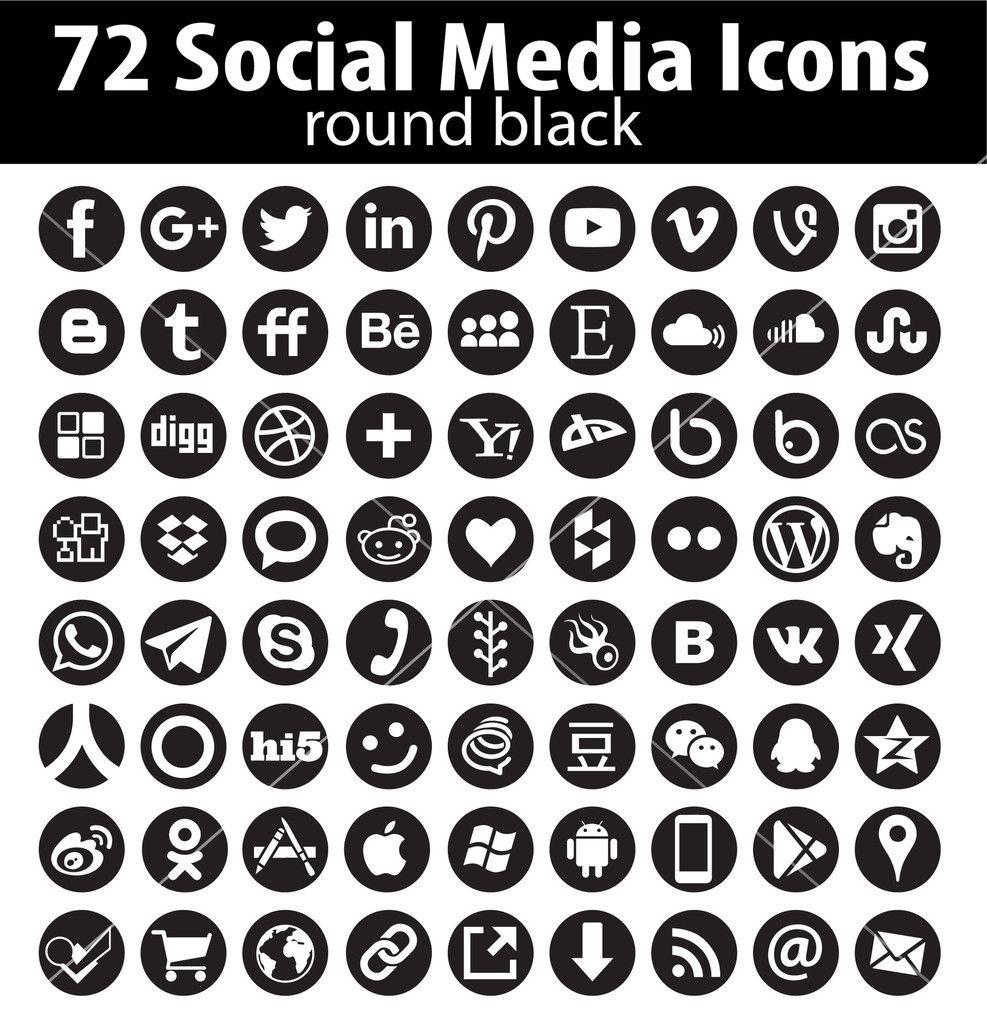 dadartdesign: 72 Vector Round Social Media Icons - vector icon s ...