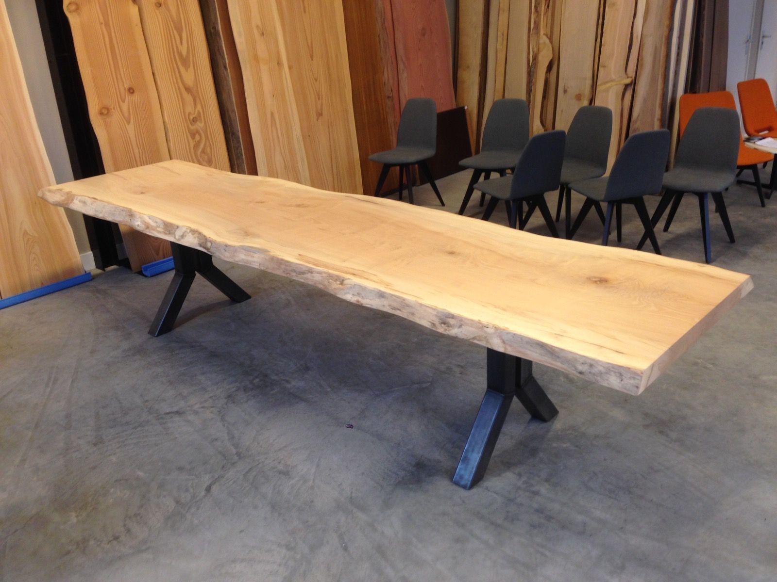 Tafel Uit Een Stuk Hout.Maple Tafel Uit 1 Stuk Hout 345 X 90 X 6 Cm Stalen Y Poot Tafels