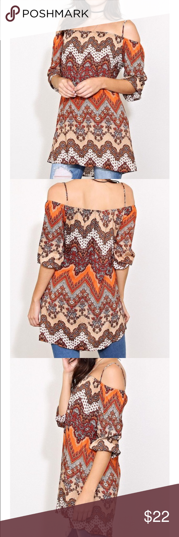 Off the shoulder bohemian top The top speaks for its self. Great fall colors with a little bit of sexy to go along with it! Tops Blouses