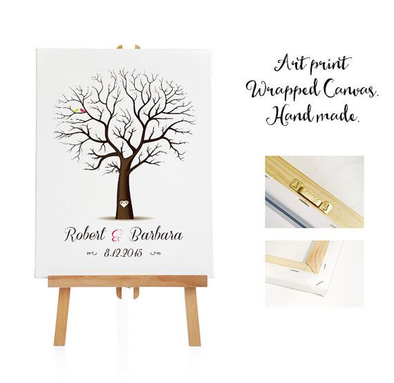 large art print wrapped canvas 3 ink pads wedding tree guest