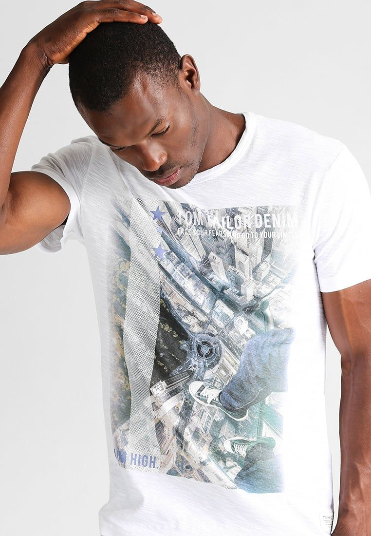 Tom Tailor Denim Print T Shirt White Men Clothing T Shirts Gorgeous Buy Tom Tailor Online Coupon Codes Tom Tailor Online S Mens Outfits White Man Tom Tailor