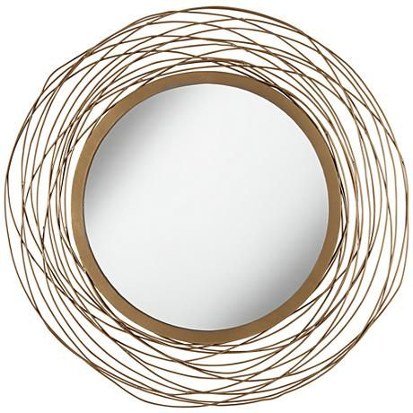 "Minimalist Saluda Matte Gold 20"" Round Openwork Wall Mirror 8F932 In 2019 - Fresh wall mirror Simple Elegant"