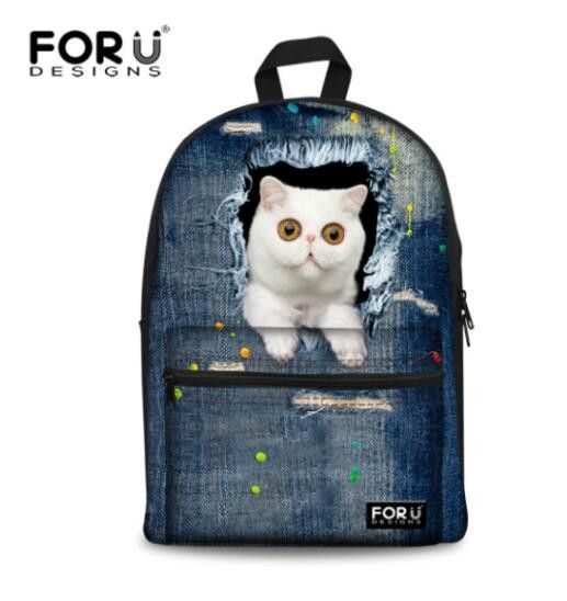 ffed17dd73fb Fashion Printing Denim Cat Kids Backpack