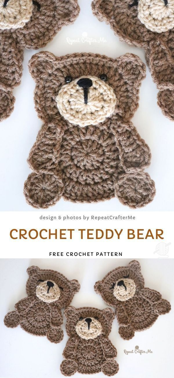 Photo of #Bear #Crochet #Free #Pattern #Teddy Cute Applique Ideas. Teddybär ist der ultimative …,  #…