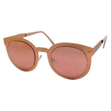 Women's Round Sunglasses with Metal Detail - Black/Gold