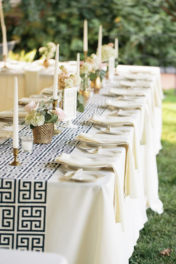 Elegant New Castle Wedding Shower Table With Greek Key Pattern Table  Runner. Photo By Hudson Nichols Photography