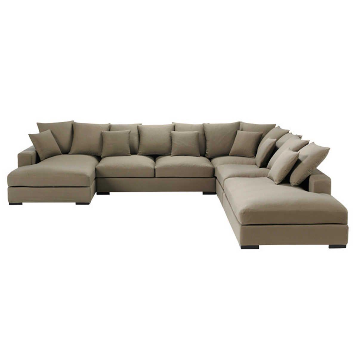 canap d 39 angle modulable 7 places en coton ivoire taupe. Black Bedroom Furniture Sets. Home Design Ideas