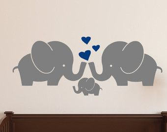 Elephant Family Wall Decal Cute Baby Nursery Decal Sticker WAL - Elephant wall decals