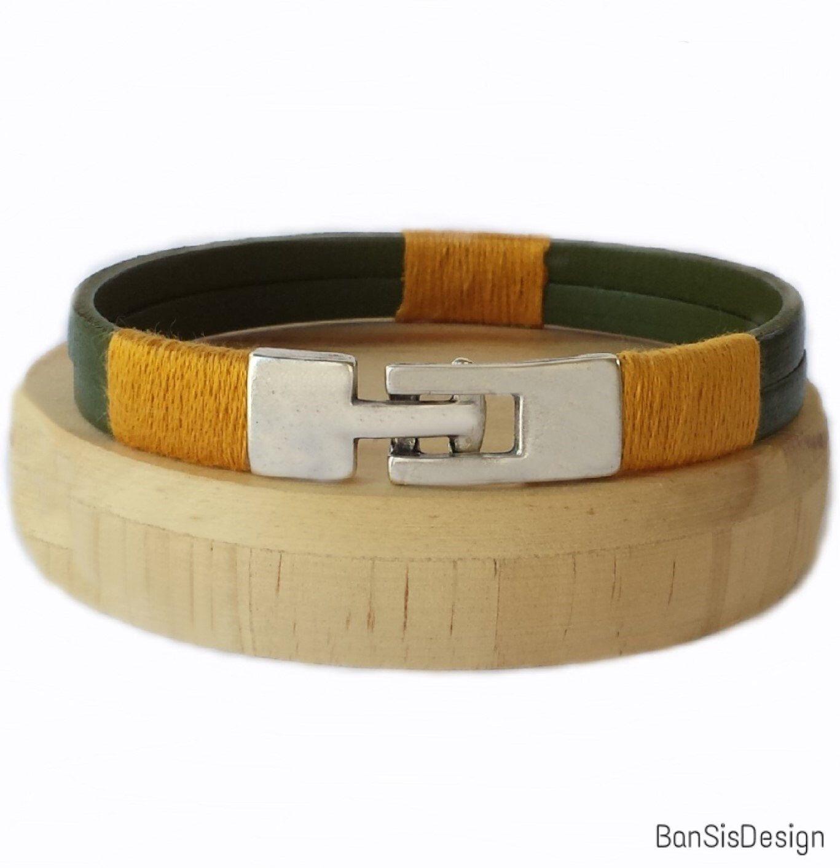 Leather green bracelet for men leather bracelets bracelets for