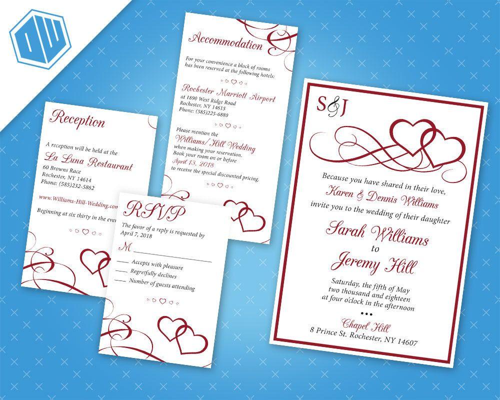 Printable Wedding Pocketfold Invitation Suite / Red Hearts Wedding ...