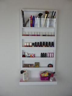 Μake up organizer - nail polish rack- bathroom storage- pencil,brush,lipstick holder -wall organizer - shelf -acrylic - rangement maquillage images