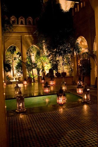 مراكش وعظمة مشاهدها !!                    Marrakesh Restaurant Dar Yacout ~ dined at this restaurant, sitting on beautiful pillows on the floor and marveling at waiters pouring tea from brass vessels....wonderful experience.