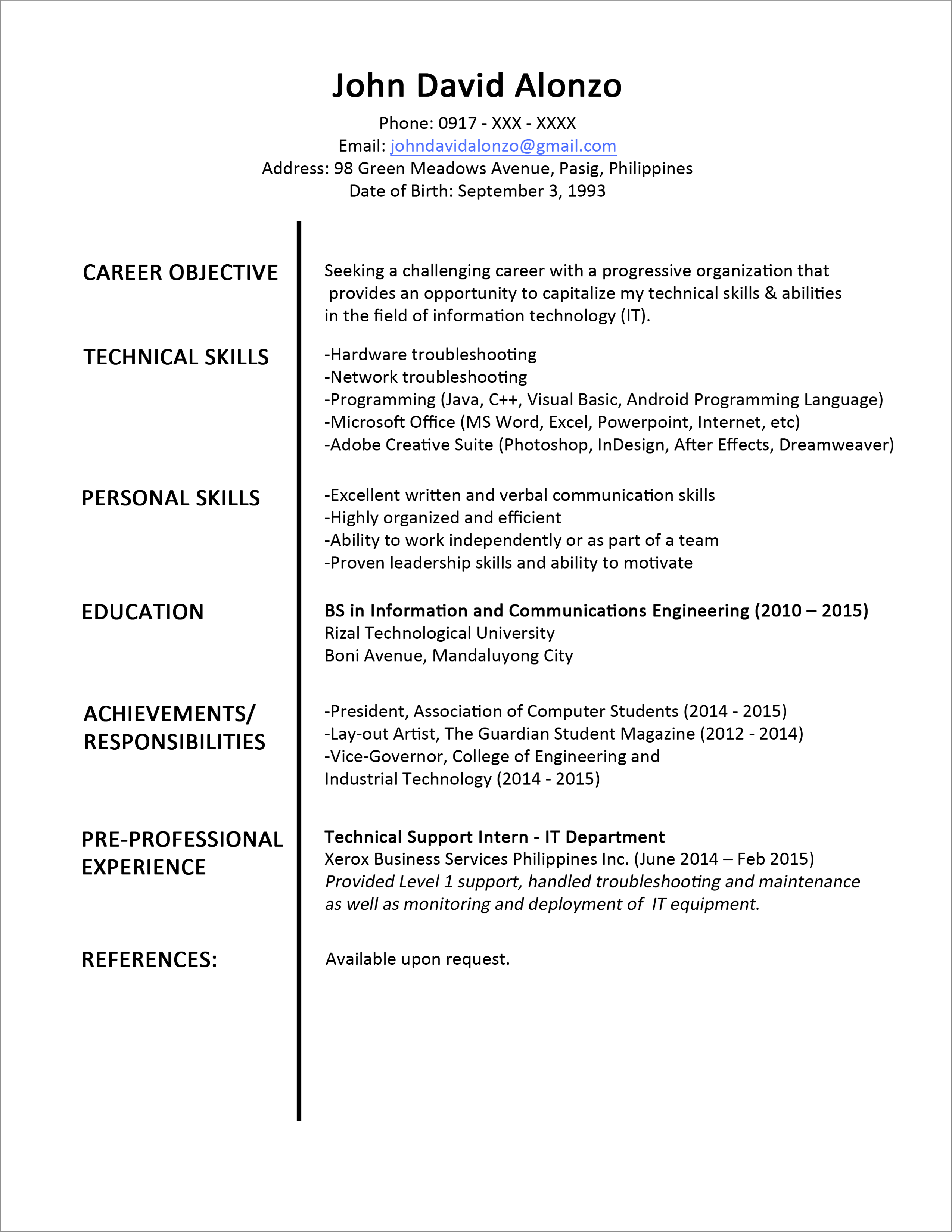 Sample Resume For It Support