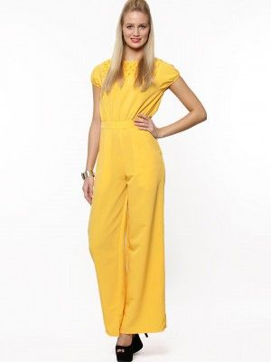 cf7e3fd0093 Buy KOOVS Smock Yoke Wide Leg Jumpsuit In Style Of Parineeti Chopra Online  at Best Price in India is Rs. 380. Yellow Jumpsuits For Women.