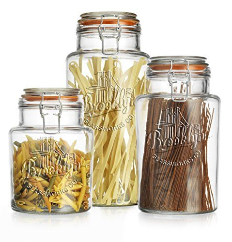 Set of 3 Brooklyn Canister Clear Glass Round Jar with Hermetic Seal Tight Lids for Kitchen or Bathroom - Food Storage Containers TWI http://www.amazon.com/dp/B013NU5GUM/ref=cm_sw_r_pi_dp_EgI0wb1X7M2R4