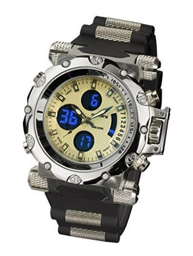 INFANTRY® Night Vision Air Force Mens Army Sport Dual Cores Quartz Wrist Watch Black Rubber Strap