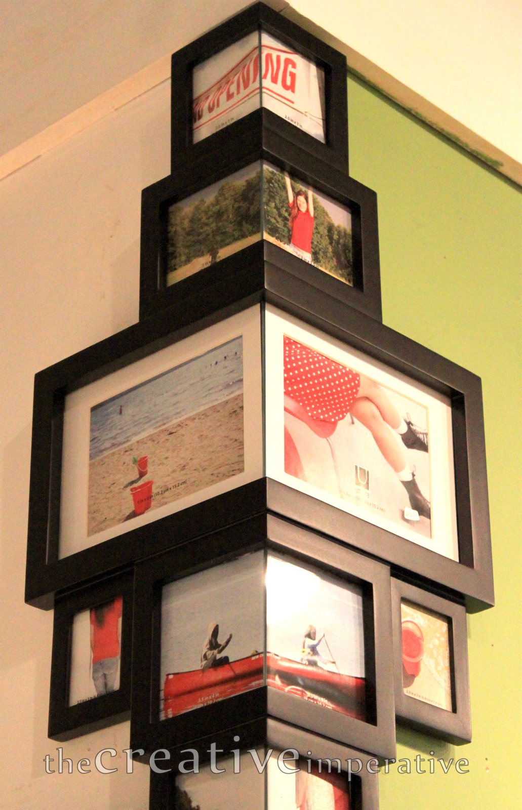 Very cool! Frames that fit around the corner of a wall ...