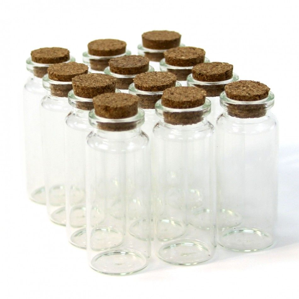 Vial Glass Cork Jars - Tall [4040 Mini Glass Cork Jar Favor ...