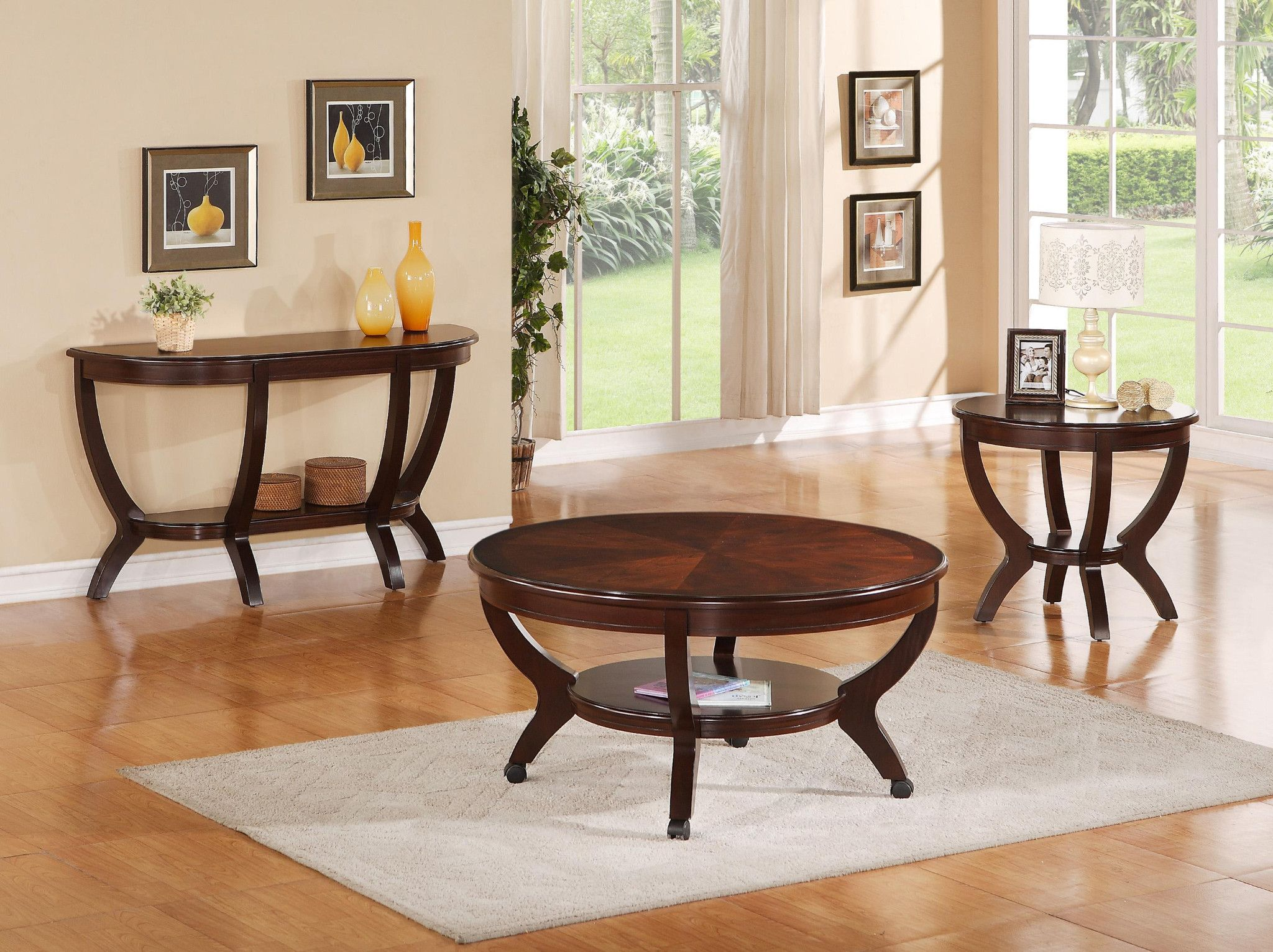 Brownstown 3 Piece Table Set Coffee And 2 End Tables 399 00 Coffee Table 40 Di Center Table Living Room Coffee Table Dining Room Furniture Sets [ 1532 x 2048 Pixel ]