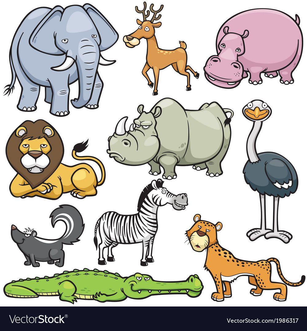 Wild Animals Vector Image On Vectorstock Wild Animals Vector Wild Animal Cartoon Animals Wild