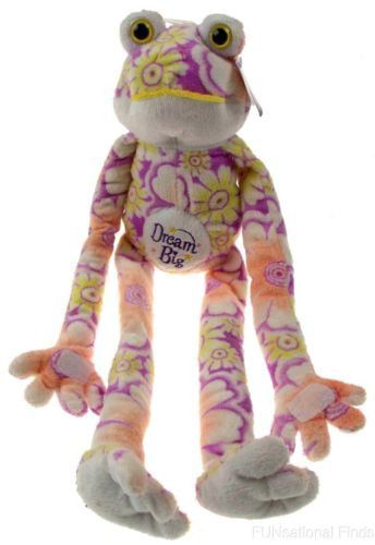 Flower Power Frog Dream Big Hanging Soft Plush Flowers Purple Velcro Embroidered